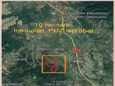 Teren intravilan-puz aprobat, 10 hectare.