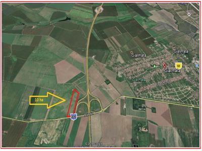Teren industrial in  Giarmata  cu acces direct  la autostrada A1.